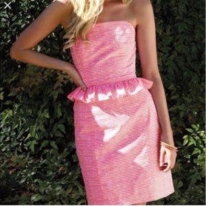 Lilly Pulitzer Pink Gingham Peplum Lowe Dress 8